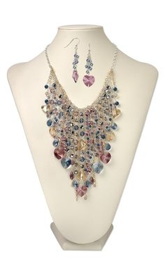 Bib-Style Necklace and Earring Set with SWAROVSKI ELEMENTS - Fire Mountain Gems and Beads