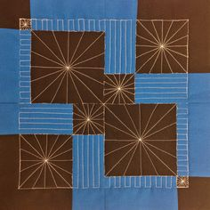 28. Quilt Lines & Stars in a Disappearing 9 Patch - 365 Days of Free Motion Quilting Filler Designs