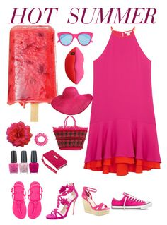 """Hot pink"" by byvette ❤ liked on Polyvore featuring Diane Von Furstenberg, OPI, Converse, BCBGeneration, Oscar de la Renta, Havaianas, Le Specs, Klix, STELLA McCARTNEY and Invisibobble"