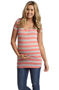 Coral-Grey-Striped-Fitted-V-Neck-Maternity-Top