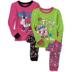 Faded Glory Baby Girls' Cotton Tight Fit Pajamas, 2 sets