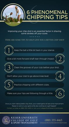 6 phenomenal chipping tips. Learn how to chip in golf and save shots around the greens. Top Three Golf Chipping Tips. golf chipping tips Golf Chipping Tips, Golf Putting Tips, Club Face, Golf Instruction, Driving Tips, Golf Tips For Beginners, Perfect Golf, Golf Quotes, Golf Lessons