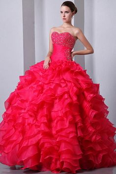 Buy coral red princess sweetheart organza beaded quinces dresses with ruffles from hot pink quinceanera dresses collection, sweetheart neckline ball gowns in color,cheap floor length organza dress with lace up and for sweet 16 quinceanera . Sweet Sixteen Dresses, Sweet 15 Dresses, Hot Pink Dresses, Cute Dresses, Girls Dresses, Prom Dresses, Dresses 2014, Ruffled Dresses, Pretty Quinceanera Dresses