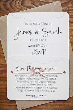 Vintage Shabby Chic Personalised Wedding Invite Day/Evening/RSVP/Menu Ivory Card