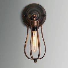 Permo Industrial Vintage Iron Line Cage Rusty Brown Filament Wall Sconce Light Lamp with 40-Watt Edison Bulb - - Amazon.com