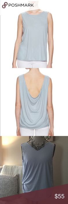 """BCBGMAXAZRIA drapey top Brand new with tags BCBGMAXAZRIA Teri top in Vintage Haze! This top is gorgeous !! Buttery soft luxurious fabric made from 68% Modal,and 32% Polyester,it's a perfect lightweight summer top,but will also layer well in the fall. It drapes so effortlessly and elegantly in the back. Measurement across chest is 16"""",and length is 21"""". Size M. Has tonal top stitching,and panel seaming❤️ BCBGMaxAzria Tops"""