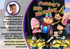 Despicable Me Girl Birthday Invitation