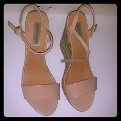 Sophia by Steve Madden Wedges Nude / multi color striped wedges.  Used and has some minor wears. Very comfortable and in good condition. Steve Madden Shoes Wedges