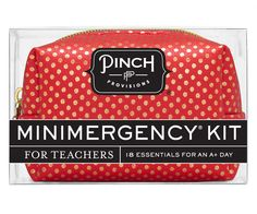 Pop quiz: What's the perfect gift for teachers? Answer: The Minimergency® Kit for Teachers by Pinch Provisions®. This adorable red & gold polka dot pouch (w