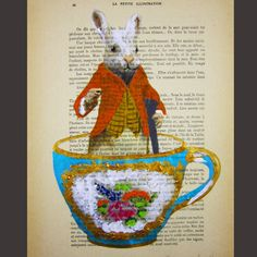 Book page Painting. Vintage inspired look of Rabbit in a floral pattern fine china tea cup. DIY art ideas.