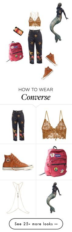 """Untitled #144"" by darylhannnah on Polyvore featuring Versace, River Island, For Love & Lemons, JanSport and Converse"