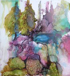 Colorful Colorado Alcohol Ink print by Maure Bausch.
