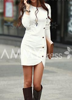 vestido Simple de Poliéster de Recto de Collar redondo del Color Sólido de Mangas Largas By Sammy dress