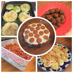 Cabbage Steaks, sausage balls, deviled eggs, cornbread salad, banana pudding....yummy!