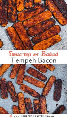 This vegan tempeh bacon can be made on the stove or in the oven using less than 10 ingredients. Perfect in sandwiches, soups, or as a breakfast side! Tempeh Bacon, Tofu Recipes, Healthy Recipes, How To Cook Tempeh, Great Recipes, Dinner Recipes, Vegetarian Comfort Food, Recipes, Vegans