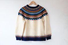 vintage norwegian pullover / 60s fair isle by mydrawingnumberone