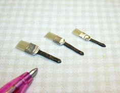 Miniature Paint Brushes for DOLLHOUSE Garage (3), REAL Bristles! 1/12 Miniatures
