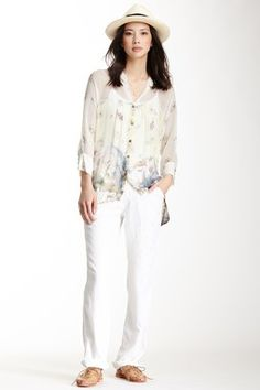 Embroidered Front Silk Blend Pant