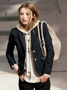 I have this j crew schoolboy blazer in gray and white herringbone. May have to bring it back with a hoodie or tshirt.