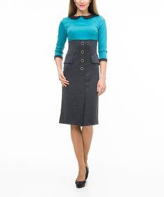 Another great find on #zulily! ZEAN Gray & Turquoise Empire-Waist Collared Dress by ZEAN #zulilyfinds