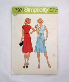 Simplicity 7971 vintage sewing pattern size 14 uncut 2 piece dress pattern 1970s skirt and top 1977 by ResourcefulGoods on Etsy