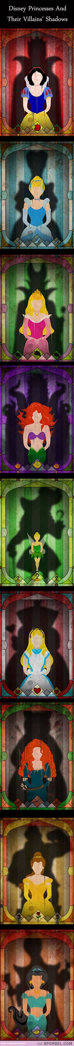 9 Disney Princesses Haunted By The Shadows Of Their Villains…I love this!