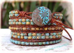 Seed Bead Leather Wrap Bracelet Leather by AZJEWELRYBYELIZABETH