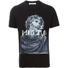 Givenchy Christ portrait T-shirt Cuccuini ($430) ❤ liked on Polyvore featuring tops, t-shirts, givenchy tee, givenchy and givenchy t shirt