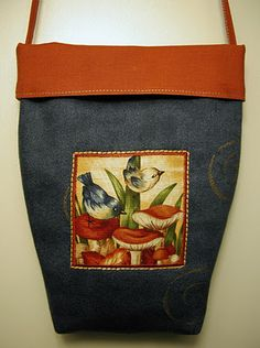 Adorable denim and fabric bag Ulla's Quilt World: Tutorial