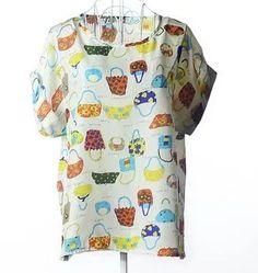 blusa de seda estampa  bolsas manga morcego frete grátis
