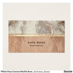 White Gray Carrara Marble Rose Gold Makeup Copper Business Card