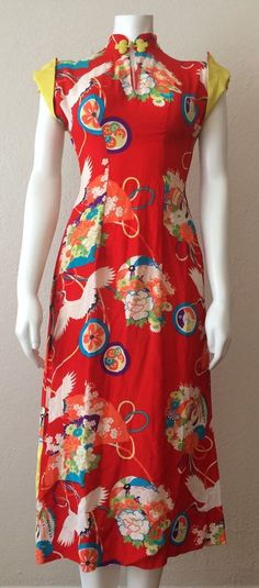 Vintage 1940's Red Oriental Motif Kamehameha Tiki Pin Up Dress Hawaiian Pake Muu
