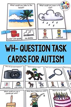 Wh Questions Teaching wh questions to autism students can be hard, but not with these visual task cards! Your students will love working on their wh question and answering skills with these in your classroom or in speech and language sessions. Speech Activities, Speech Therapy Activities, Language Activities, Communication Activities, Articulation Activities, Group Activities, Classroom Activities, Reading Task Cards, Math Task Cards
