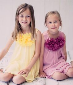Yellow Chiffon Shift Dress with 2 Tier Hem & Floral Mesh Neckline (Girls 2T - Size 14)