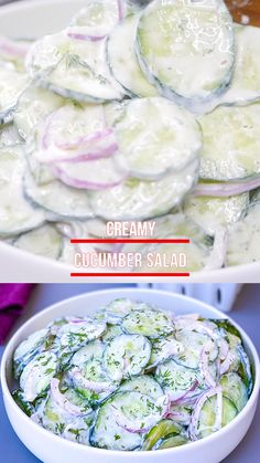 This Easy Creamy Cucumber Salad Recipe is made with sour cream or Greek yogurt, onions, and without vinegar. This healthy dish is the perfect side, especially when you are wondering what to do with excess cucumbers! Easy Creamy Cucumber Salad Recipe, Greek Yogurt Cucumber Salad, Creamed Cucumber Salad, Creamed Cucumbers, Cucumber Recipes, Summer Salad Recipes, Healthy Salad Recipes, Keto Recipes, Cooking Recipes