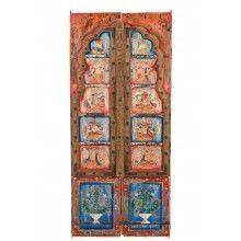 India bunt bemalte schlanke Tür Bogen Hartholz geschnitzt Rajasthan um 1945