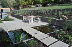 Modern Landscape : Concrete Paving, Path, Water Garden, Patio Furniture, Patio, Garden Lighting