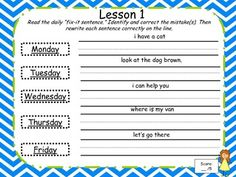 This freebie product consists of grammar fix-it sentences for the first five lessons of the Harcourt Reading series for only first grade. Each day, the students will correct and rewrite the fix-it sentence. There are five fix-it sentences for each lesson for a total of 25 sentences in this packet.