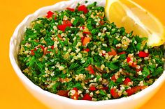 One of my most favorite things to make in the summer... tabbouleh! So fresh and delicious and EASY!!! -- but this recipe isn't calling for lemon juice… Lemon juice and olive oil are the only two liquids I use in this…