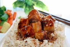 Derived from LinMaries Bourbon Chicken recipe, this tofu, fried, cooked in sauce and served over rice, wont disappoint; at the moment its my favorite tofu recipe.
