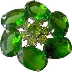 Beautiful Green rhinestone brooch. Vintage Jewelry Under $25  www.rubylane.com @Ruby Lane