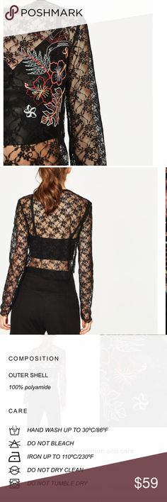 EMBROIDERED BLACK LACE SWEATER BEAUTIFUL EMBROIDERED LACE SWEATER. DESCRIPTION IN PHOTOS. BEAUTIFUL THATS ALL I HAVE TO SAY. I OPEN AND INSPECT EVERY ITEM. I TAKE SEVERAL PHOTOS. NO TRADES PLEASE. #60000012-13 Zara Sweaters Crew & Scoop Necks