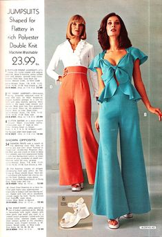 "Have you ever noticed that when anyway has a ""Disco"" themed retro party, there are going to be jumpsuits. 70s Inspired Fashion, 60s And 70s Fashion, Retro Fashion, Vintage Fashion, Womens Fashion, Decades Fashion, Fashion Through The Decades, Disco Fashion, Fashion 2020"