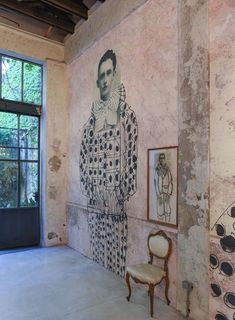 "print on wall with added drawing thedesigncollector: ""Antonio Marras, Milan Design Week Mural Art, Wall Murals, Wall Art, Milan Design Week 2017, Ivy House, House Wall, Street Art, Street Style, Interior Design"