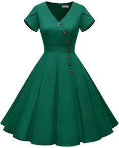 online shopping for ALAGIRLS Women's Vintage Cocktail Party Dress Rockabilly Swing Short Sleeve Dress Button from top store. See new offer for ALAGIRLS Women's Vintage Cocktail Party Dress Rockabilly Swing Short Sleeve Dress Button Banquet Dresses, Event Dresses, African Dresses For Women, African Fashion Dresses, Vestidos Vintage, Vintage Dresses, Looks Plus Size, Classy Dress, Stylish Dresses