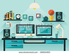 Flat design vector illustration of modern office interior. Workspace, workplace icons and elements in minimalistic style and color. Education process. - stock vector