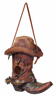 Birdhouse Red Boot W/Hat  at Cowgirl Blondie's Dumb Blonde Boutique - Western Lifestyle with a Kick!