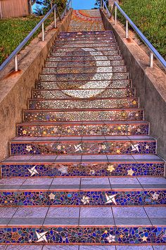 mosaic stairs. cool