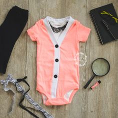 Baby Girl Cardigan Onesie and Lace Onesie Set-Neon Peach by IzzyandIsla coming home outfit, newborn, photography outfit