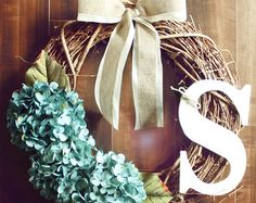 Monogrammed Grapevine Wreath with white cherry by ChicWreath